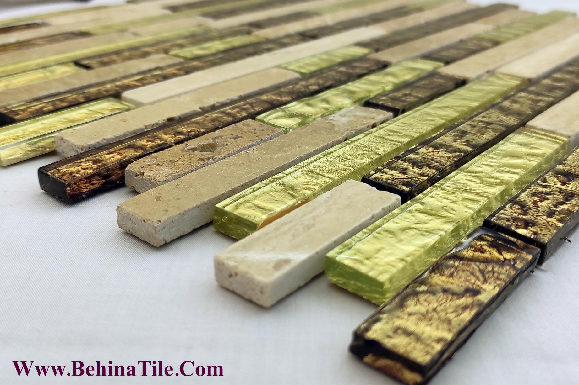 کاشی ترکیبی شیشه و سنگ طبیعی